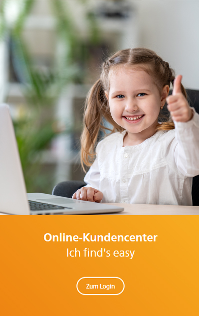 Kind am Laptop - Online Kundencenter ist easy